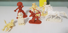 MIXED LOT COWBOYS AND INDIANS PLASTIC OLDER FIGURINES BITS AND PIECES!