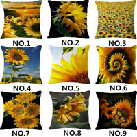 Cushion Pillow Home Cotton Decor Throw Cover Fashion Linen 18''Sunflower Case