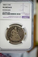 1860 S Sitting Liberty silver half NGC graded VG Details