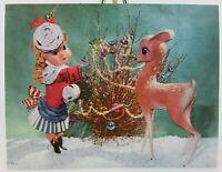 Cecilia Staples, Girl w/ Reindeer Vintage Christmas Card, Irene Dash, Unused