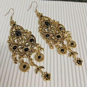 Gold Tone Pretty Black Boho Style Long Drop Earrings *NEW*