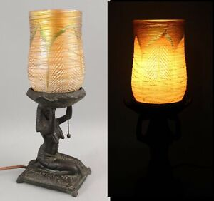 Antique Art Deco Weidlich Egyptian Revival Lamp & Threaded Art Glass Shade NR