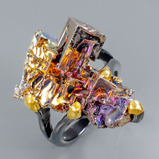 Jewelry Gemstone Natural Bismuth 925 Sterling Silver Ring Size 8/R101055