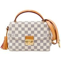 $1800 Louis Vuitton Croisette White Damier Azur Canvas Shoulder Bag