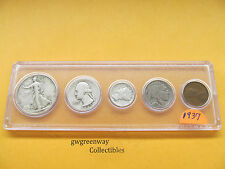 1937 Silver Birth year set 5 coins   (other years also)