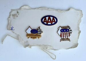Old Original Collection of 3 Different USAC and AAA Race Car Pins 1957 Very Rare