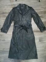 Wilsons Black Leather Long Jacket Trenchcoat Parka Womens Size Small Belted