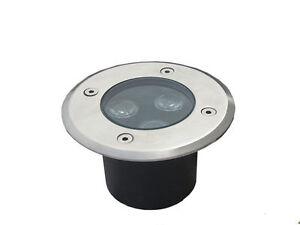 3x3W DC12V LED Round Outdoor ground Garden Path Light IP67 White Lamp Waterproof