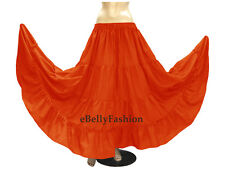Women Cotton 4 Tiered 6 Yard Skirt Maxi Belly Dance Gypsy Flamenco Tribal Jupe