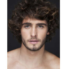 Curly Short Wig for Men Male Layered Natural Wave Synthetic Hair Cosplay Brown