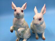 Pair 2 Vintage Lefton White & Pink Rabbit Bunny Figurines #H880 Spring Bunnies
