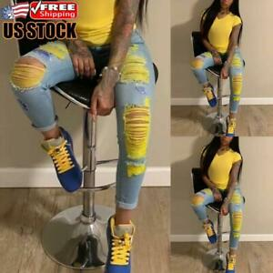 Women's High Waisted Ripped Denim Jeans Pencil Pants Slim Fit Jegging Trousers