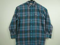 Mens Wrangler XL Green Plaid Long Sleeve Pearl Snap Western Cowboy Shirt