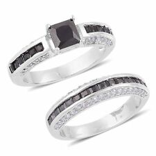 BLACK GLASS SIMULATED VS DIAMOND SILVER TONE WEDDING SET ENGAGEMENT BAND RINGS 6