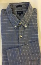 J.Crew Tall Men Dress Shirt LT Blue White Striped Slim Fit Cotton Long Sleeve