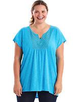 Just My Size Short-Sleeve Slub-Jersey Womens Tunic Crochet Bib Yoke Split V-neck