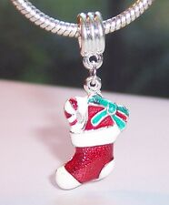 Christmas Stocking Gifts Red Enamel Holiday Dangle Charm for European Bracelets