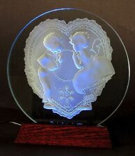 Valentine in glass, Tom Sawyer-style kids in Heart Doily, with LED light base