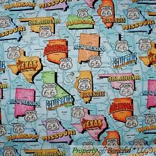 BonEful Fabric FQ Cotton Quilt America USA CAR Harley State Route 66 Travel Map