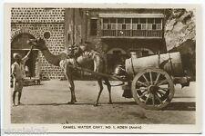 ADEN ARABIA VINTAGE PHOTO POSTCARD RPPC Camel Water Cart / Street View