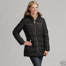 Anne Klein Women's Size XS Black Faux-fur Jacket Coat