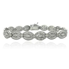 Silver Tone 1/4ct Diamond Marquise Link Bracelet