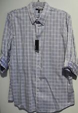 MURANO Light Blue White Box Check Roll Tab Sleeve Shirt Slim Fit XL NEW! $79.50