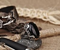 925 Sterling Silver Handmade Jewelry Black Onyx Stone Men's Ring         #KR110