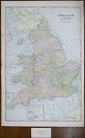 "Vintage 1900 ENGLAND & WALES Map 14""x22"" ~ Old Antique Original CARDIFF LONDON"
