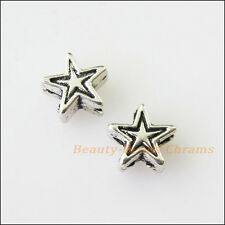 60 New Tiny Star Charms Tibetan Silver Tone Spacer Beads 6mm