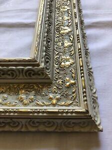 Bilderrahmen Spiegel alt Holz Weiß Gold farben um 1960 Falz: 80x60 Nr.A13