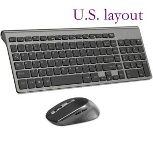 2.4 GHz Ultra Thin Portable Wireless Keyboard Mouse, Full Size 2400 DPI Mouse,Bl