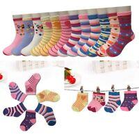 New Lot 12 Pairs Child Girls Kids Multi Color Sport Crew Socks Cotton Multi-Size