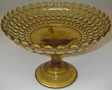 "EAPG Adams Glass Thousand Eye Aka Three Knob Amber Compote 8½"" d 6"" h"