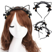 Cat Ear Headband Felt Metal Wired Lace Hairband Costume Fancy Cosplay Party OH