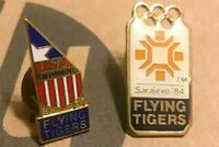 Vintage Flying Tigers Sarajevo 84' USA Swimming Team Pinback Brooch Pin Buttons
