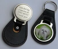 Genuine Leather Personalised Engraved Key Ring FOB with Shih TZU Picture