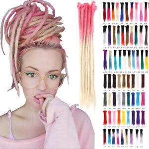 "20"" 24"" Ombre Dreadlocks Hair Extensions Synthetic Crochet Braiding Dreads Locs"