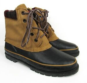Vintage NOS Duck Boots Mens Size 10 Insulated Rubber Leather Faux-Fur Lined NWT