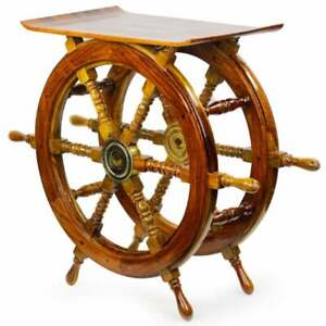 Ship Wheel Stool Sitting Wooden Table Contemporary Home Decor Polished Brass