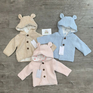 Mothercare Baby Knitted Bear Cardigan Hooded Ears Girls Boys Jacket Chunky Gift