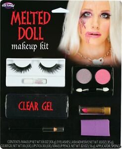 Melted Doll Makeup Kit Eyelashes Gel Sponge Face Paint Halloween Accessory