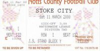 Ticket - Notts County v Stoke City 11.03.00