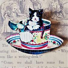 Kooky Kitsch Vintage Taza De Té Gatito Gato Flores Impresas De Madera Broche Pin 45mm