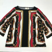 Chico's Stretch Knit Blouse Women's Small 3/4 Bell Sleeve Black Red Boat Neck