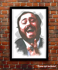 Luciano Pavarotti watercolor painting art print/poster Free S&H!