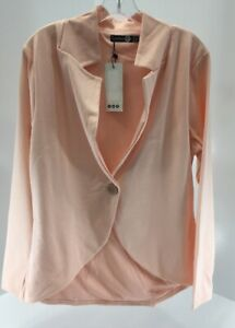 Boohoo Womens Plus Long Sleeve One Button Ponte Blazer Nude US:12/UK:16 NWT #