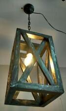 Lampadario lanterna in legno da soffitto 1 luce E27 colore nero e argento