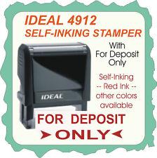 For Deposit Only, Bank Endorsement, Trodat / Ideal Rubber Stamp, 4912 Red Ink