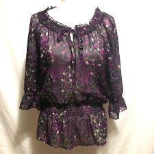Apostrophe Womens size small sheer peplum top stretch purple black 3/4 sleeves
